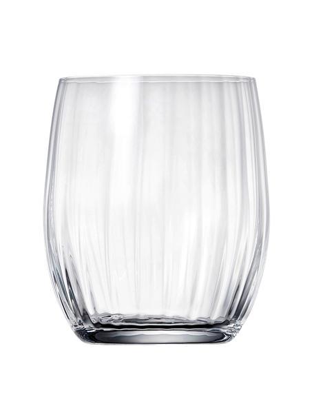 Kristall-Wassergläser Romance mit Rillenrelief, 6 Stück, Kristallglas, Transparent, Ø 9 x H 10 cm
