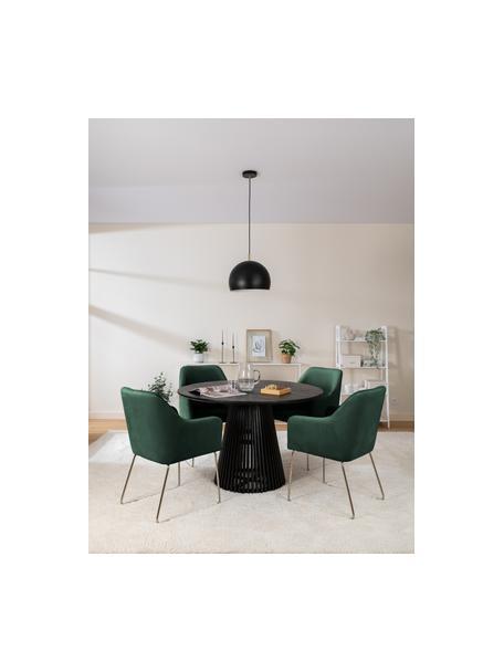 Sedia con braccioli in velluto verde scuro  Ava, Rivestimento: velluto (100% poliestere), Gambe: metallo zincato, Velluto verde scuro, Larg. 57 x Prof. 63 cm