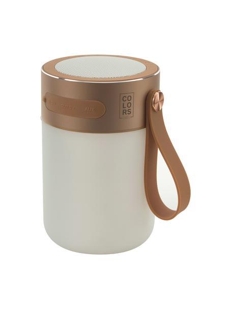 Mobiel dimbare tafellamp Sound Jar met luidspreker, Lampenkap: kunststof, Koperkleurig, wit, Ø 9 x H 14 cm