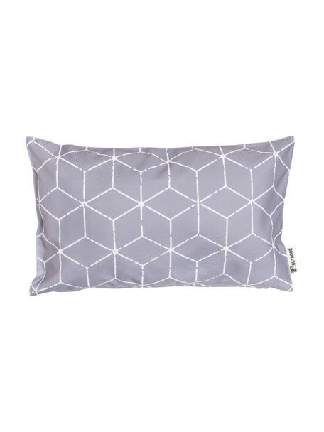 Outdoor kussen Cube met grafisch patroon in grijs/wit, met vulling, 100% polyester, Grijs, wit, 30 x 50 cm