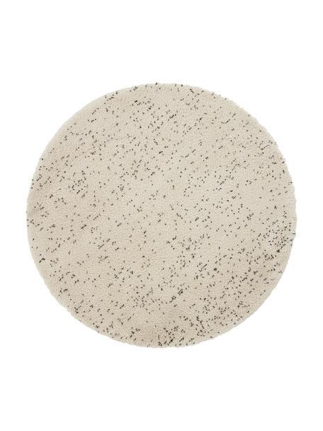 Tappeto rotondo a pelo lungo maculato Ludde, 68% polipropilene, 27% iuta, 5% poliestere, Bianco latteo, nero, Larg. 200 x Lung. 200 cm