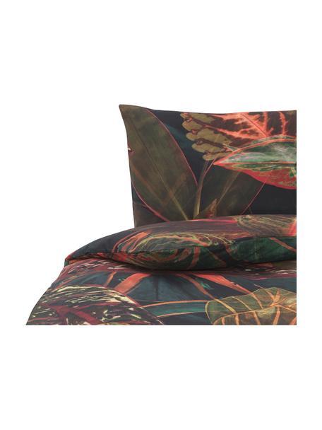 Pościel z bawełny Velvetleaf, Odcienie zielonego i czerwonego, 135 x 200 cm + 1 poduszka 80 x 80 cm