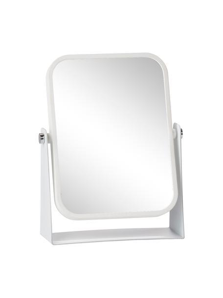 Rechthoekige make-up spiegel Aurora met vergroting, Frame: gecoat metaal, Wit, 15 x 21 cm