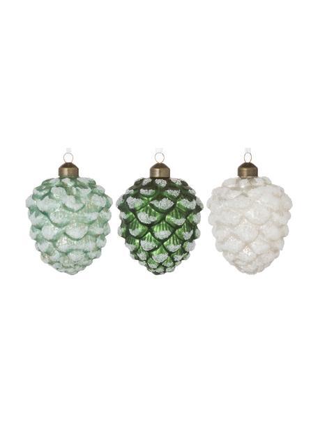 Baumanhänger-Set Pine H 10 cm, 12-tlg., Weiss, Silberfarben, Grün, glitzernd, Ø 7 x H 10 cm