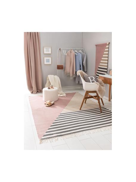 Dywan z wełny z frędzlami Oasis, 100% wełna Włókna dywanów wełnianych mogą nieznacznie rozluźniać się w pierwszych tygodniach użytkowania, co ustępuje po pewnym czasie, Blady różowy, beżowy, taupe, S 60 x D 120 cm (Rozmiar XS)