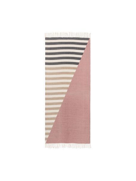 Gestreifter Colorblocking Teppich Oasis aus Wolle mit Fransen, 100% Wolle  Bei Wollteppichen können sich in den ersten Wochen der Nutzung Fasern lösen, dies reduziert sich durch den täglichen Gebrauch und die Flusenbildung geht zurück., Rosa, Beige, Taupe, B 60 x L 120 cm (Größe XS)