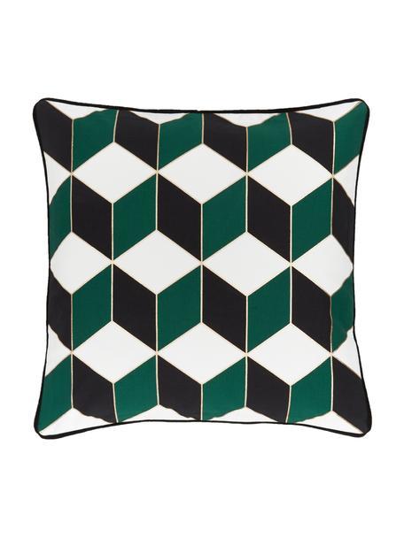 Federa arredo con bordino nero Geo, 100% cotone, Bianco crema, verde, dorato, Larg. 45 x Lung. 45 cm