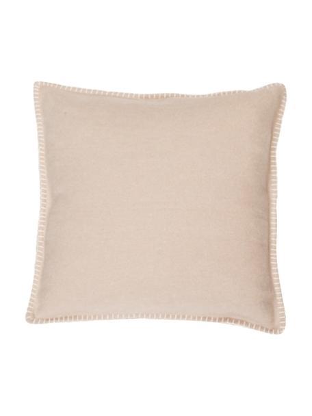 Poszewka na poduszkę z polaru z obszyciem Sylt, 85% bawełna, 15% poliakryl, Beżowy, S 40 x D 40 cm