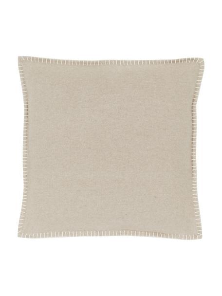 Weiche Fleece-Kissenhülle Sylt mit Steppnaht, 85% Baumwolle, 15% Polyacryl, Beige, 40 x 40 cm