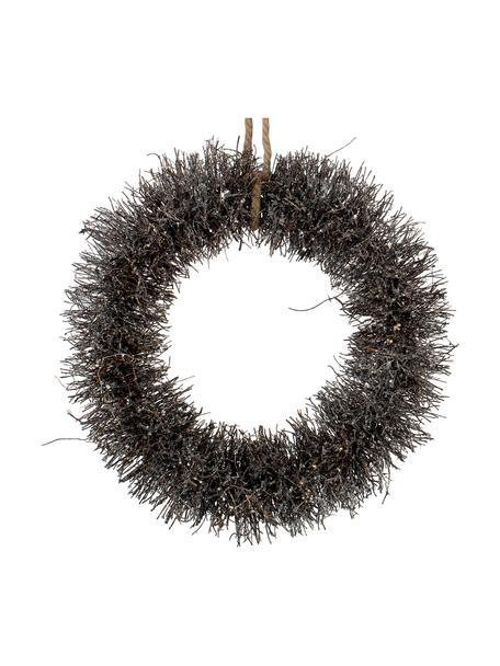Handgefertigter Weihnachtskranz Alvia Ø 40 cm, Braun, Silberfarben, Ø 40 x H 10 cm