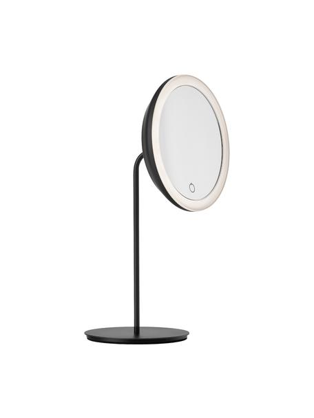 Ronde make-up spiegel Maguna met vergroting en verlichting, Zwart, 18 x 34 cm