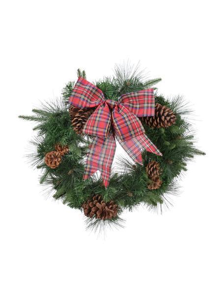 Weihnachtskranz Harta Ø 50 cm, Kunststoff, Grün, Rot, Braun, Ø 50 x H 15 cm