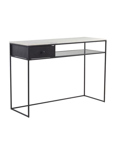 Bureau Muce met marmeren tafelblad, Tafelblad: marmer, Frame: gecoat metaal, Plank: glas, Zwart, wit, gemarmerd, 110 x 40 cm