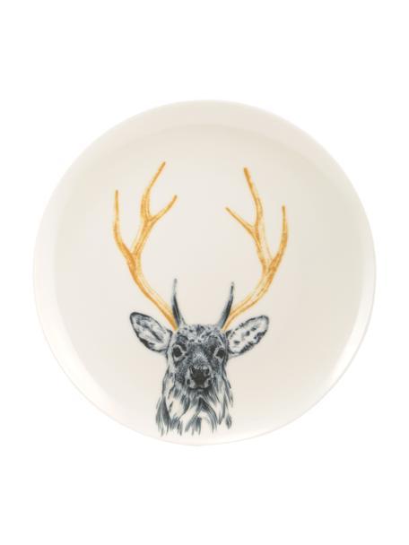 Handgemaakt dinerbord Safari Deer, Porselein, Wit, Ø 26 cm