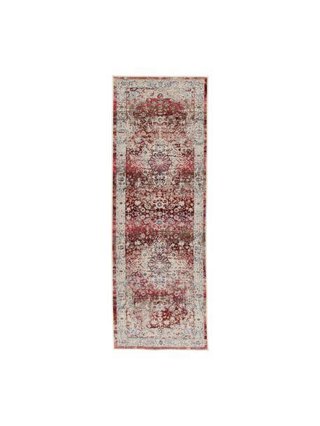 Loper Vintage Kashan met vintage patroon, Bovenzijde: 100% polypropyleen, Onderzijde: latex, Beige, rood, blauw, 60 x 185 cm