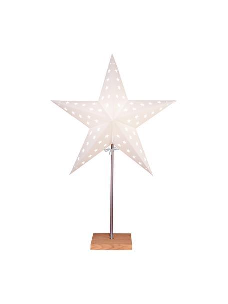 Lichtobject Star, met stekker, Lampenkap: papier, Lampvoet: eikenhout, Stang: gecoat metaal, Wit, eikenhoutkleurig, 43 x 65 cm