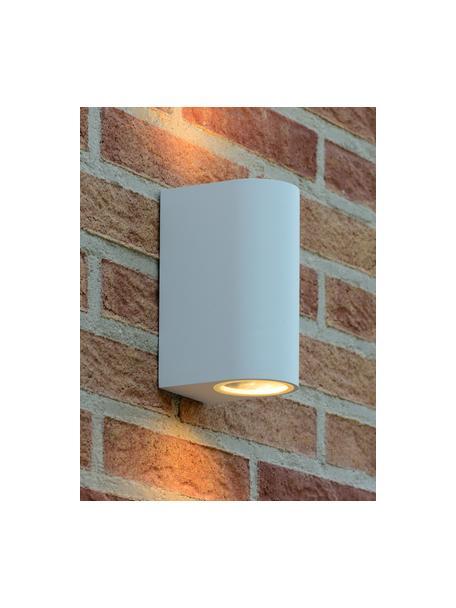 Außenwandleuchte Zora in Weiß, Lampenschirm: Aluminium, beschichtet, Diffusorscheibe: Glas, Weiß, 7 x 15 cm