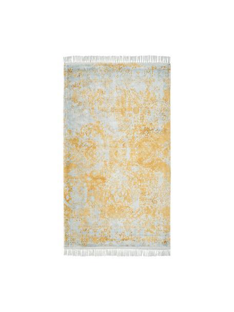 Handgewebter Viskoseteppich Dolcita mit Fransen, Flor: 100% Viskose, Grau, Goldfarben, B 80 x L 150 cm (Größe XS)