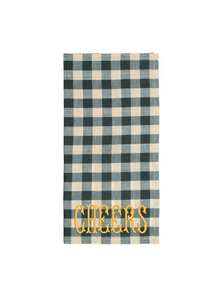 Paños de cocina de algodón Cheers, 2uds., 84%algodón, 16%lino, Verde, beige, An 45 x L 45 cm