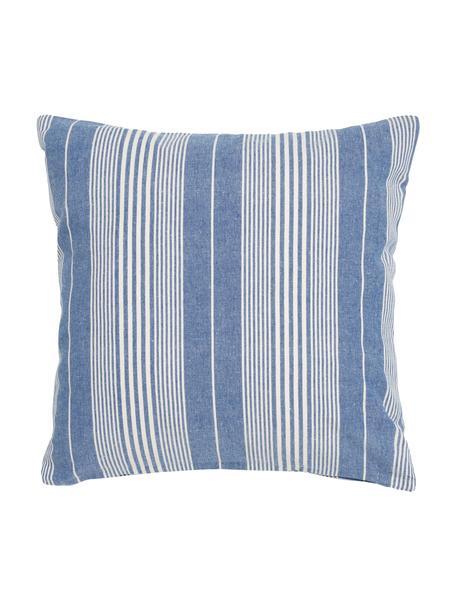 Gestreepte katoenen kussenhoes Tosa, 100% katoen, Blauw, wit, 45 x 45 cm