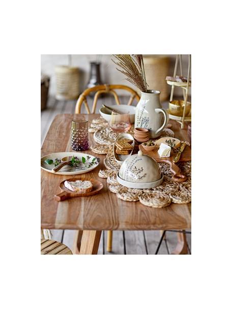 Handgemaakt keramisch serveerplateau Bea met grasmotief, L 36 x B 8 cm, Keramiek, Beige, 8 x 36 cm