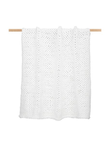 Handgemaakte dikke deken Adyna in wit, 100% polyacryl, Crèmewit, 130 x 170 cm