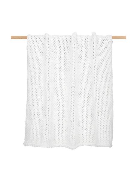Handgemachte Grobstrick-Decke Adyna in Weiß, 100% Polyacryl, Weiß, 130 x 170 cm