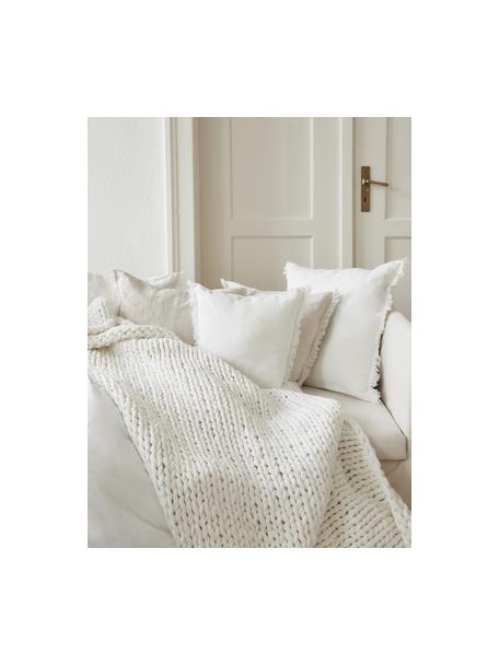 Coperta a maglia grossa fatta a mano Adyna, 100% poliacrilico, Bianco crema, Larg. 130 x Lung. 170 cm