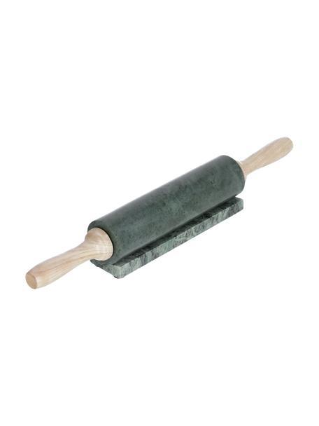 Marmeren deegroller met oplegger Aimil, Handvatten: hout, Groen gemarmerd, hout, Ø 7 x L 41 cm