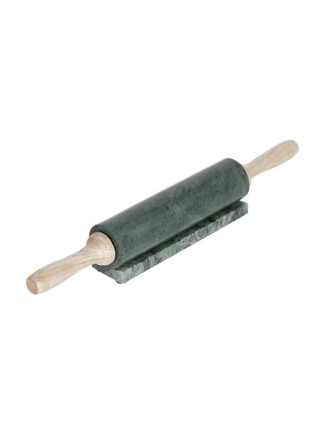 Wałek z marmuru Aimil, 2 elem., Zielony marmurowy, drewno naturalne, Ø 7 x D 41 cm