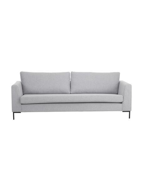 Sofa Luna (3-Sitzer) in Hellgrau mit Metall-Füßen, Bezug: 100% Polyester Der hochwe, Gestell: Massives Buchenholz, Füße: Metall, galvanisiert, Webstoff Hellgrau, B 230 x T 95 cm