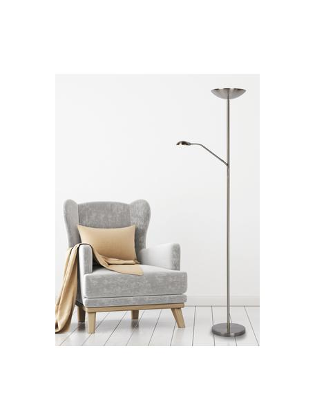 Großer Dimmbarer LED-Deckenfluter Zenith mit Leselampe, Lampenschirm: Metall, Lampenfuß: Metall, Chrom, satiniert, 53 x 180 cm