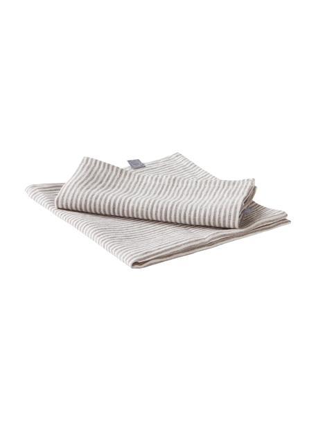 Gestreepte linnen servetten Alina in grijs/crèmewit, 2 stuks, 100% linnen, European Flax gecertificeerd, Grijs, crèmewit, 45 x 45 cm