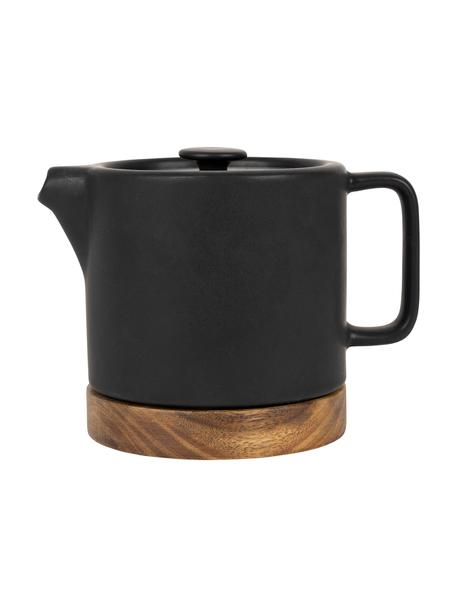 Keramische theepot Nordika met acaciahouten basis, 700 ml, Onderzetter: acaciahout, Zwart, bruin, 700 ml