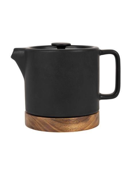 Kleine Steingut Teekanne Nordika mit Akazienholzsockel, 700 ml, Untersetzer: Akazienholz, Schwarz, Braun, 700 ml