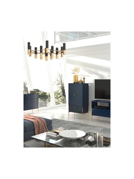 Dunkelblaues Highboard Polka mit Türen, Korpus: Hochdichte Holzfaserplatt, Dunkelblau, 60 x 120 cm