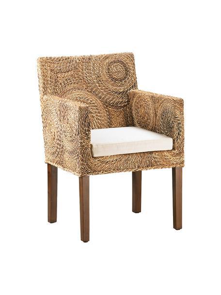 Ręcznie wykonany fotel z rattanu Banana, Nogi: drewno mahoniowe, Brązowy, biały, S 56 x G 60 cm