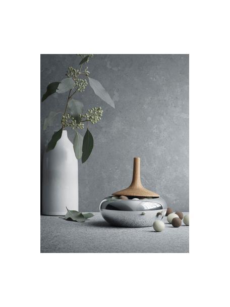 Opbergpot Onion, Pot: hoogglans gepolijst edels, Deksel: eikenhout, Pot: edelstaalkleurig, glanzend. Deksel: eikenhoutkleurig, Ø 12 x H 11 cm
