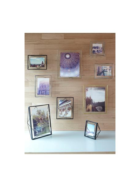 Bilderrahmen Prisma, Rahmen: Stahl, Front: Glas, Messingfarben, 10 x 15 cm
