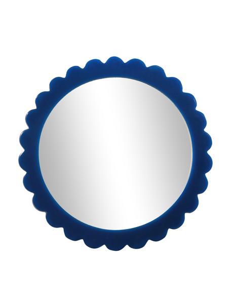 Make-up spiegel Bloom, Lijst: polyresin, MDF, Blauw, Ø 17 cm