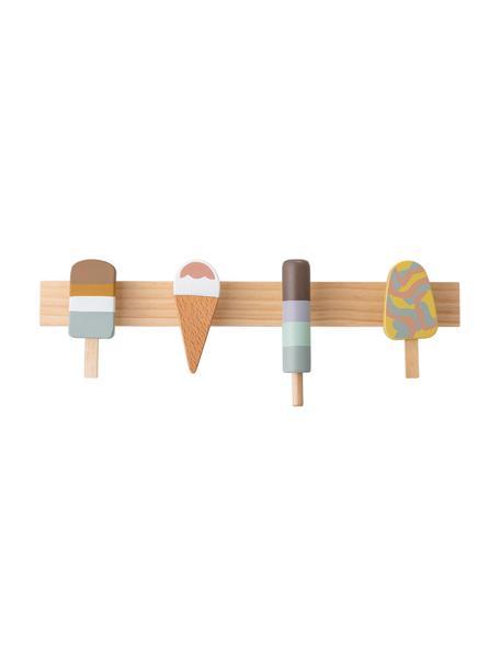 Wieszak ścienny Ice Creams, Drewno bukowe, drewno lotosu, metal, Wielobarwny, S 38 x W 13 cm
