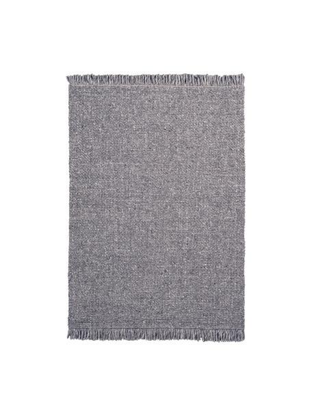 Alfombra artesanal de lana con flecos Eskil, Parte superior: 60%lana, 40%viscosa, Reverso: algodón, Gris pardo jaspeado, An 80 x L 150 cm (Tamaño XS)