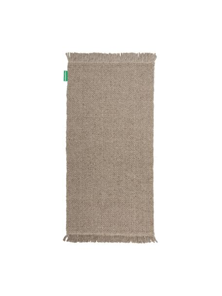 Handgewebter Wollteppich Alvin in Grau meliert mit Fransenabschluss, Flor: 60% Wolle, 40% Viskose, Taupe, meliert, B 80 x L 150 cm (Größe XS)
