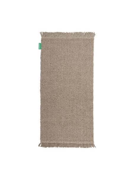 Handgewebter Wollteppich Alvin in Taupe meliert mit Fransenabschluss, Flor: 60% Wolle, 40% Viskose, Taupe, meliert, B 80 x L 150 cm (Größe XS)