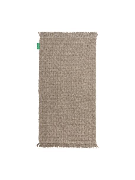 Handgeweven wollen vloerkleed Alvin in gevlekt taupe met franjes, Bovenzijde: 60% wol, 40% viscose, Onderzijde: 100% katoen Bij wollen vl, Taupe, gevlekt, B 80 x L 150 cm (maat XS)