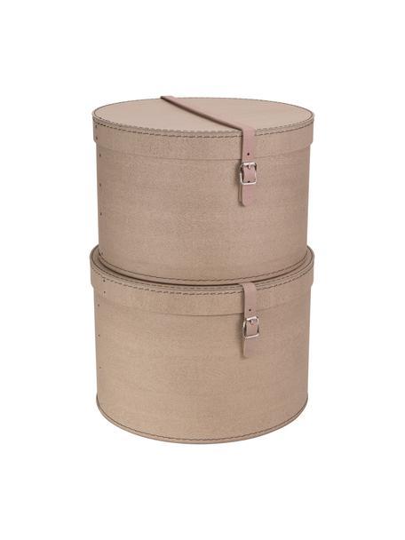 Aufbewahrungsboxen-Set Rut, 2-tlg., Box: Fester Karton, mit Holzde, Griff: Leder, Metall, Box aussen: BeigeBox innen: SchwarzGriff: Beige, Set mit verschiedenen Grössen