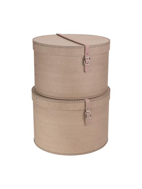 Set de cajas Rut, 2pzas., Caja: cartón sólido, con estamp, Asa: cuero, metal, Exterior: beige Interior: negro Asa: beige, Set de diferentes tamaños