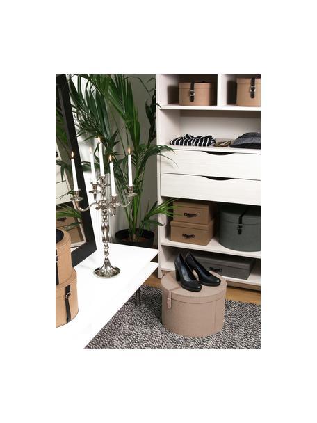 Aufbewahrungsboxen-Set Rut, 2-tlg., Box: Fester Karton, mit Holzde, Griff: Leder, Metall, Box außen: BeigeBox innen: SchwarzGriff: Beige, Sondergrößen