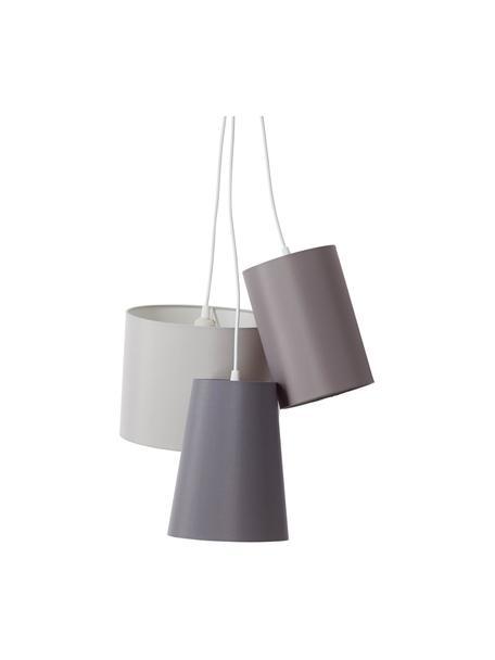 Moderne Cluster-Pendelleuchte Trial, Lampenschirm: Baumwolle, Baldachin: Metall, beschichtet, Grau, 44 x 105 cm