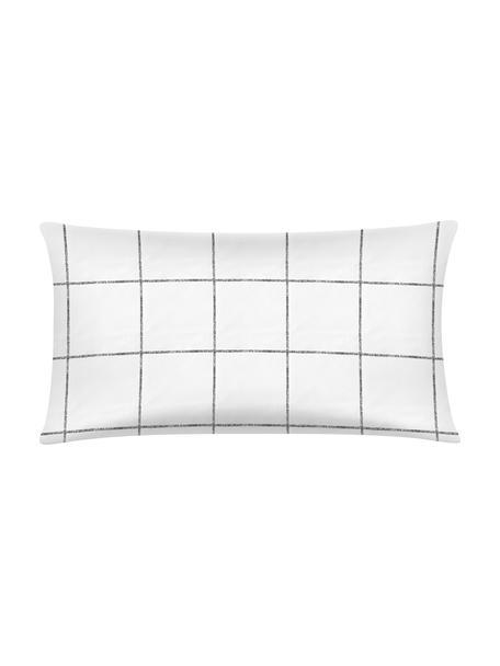 Funda de almohada de percal Juna, 45x85cm, Blanco, negro, An 45 x L 85 cm
